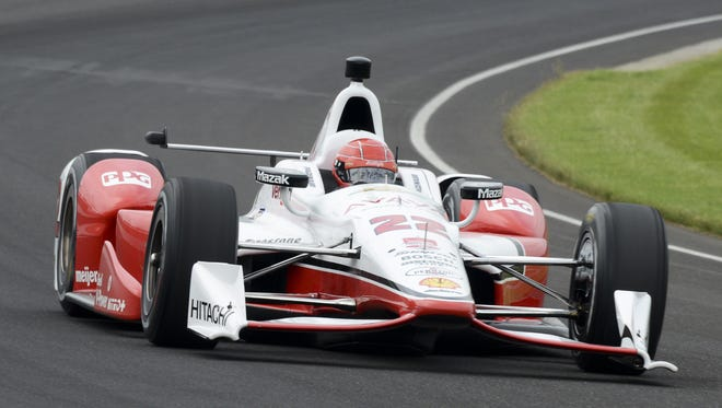 Simon Pagenaud (22) of Team Penske will start in third position for the 99th running of the Indianapolis 500 at the Indianapolis Motor Speedway. Sunday, May 17, 2015
