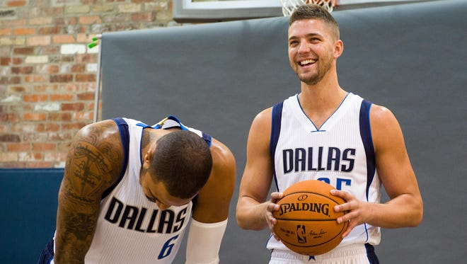 Sep 29, 2014; Dallas, TX, USA; Dallas Mavericks center Tyson Chandler (6) and forward Chandler Parsons (25) laugh during media day at the American Airlines Center. Mandatory Credit: Jerome Miron-USA TODAY Sports