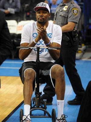 Oklahoma City Thunder forward Kevin Durant was among several key NBA players who missed significant stretches or big games because of injuries.