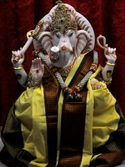 A statue of the Hindu god Ganesh at Abilene's only Hindu temple, located on North  Mockingbird Lane.