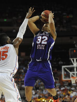Northwestern State forward DeQuan Hicks, shown here shooting against Florida in the NCAA tourney, returns in 2013-14 after averaging 14.0 points and 5.9 rebounds per game last season.