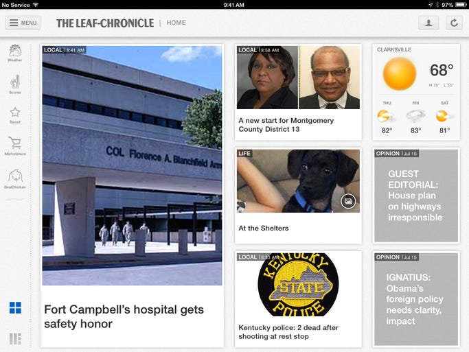 Choose between a photo-and-headline display on TheLeafChronicle.com iPad app (shown) or more text.