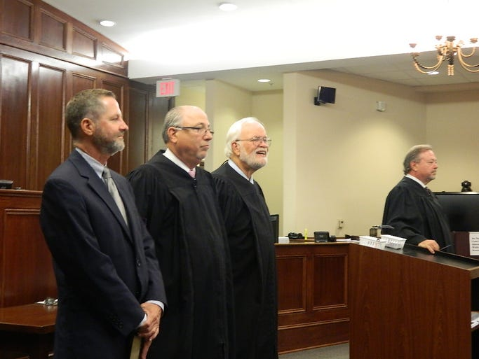 Judge Robert Wedemeyer administered the Oath of Office to General Sessions Judges: Tim Barnes, Raymond Grimes, Ken Goble and Wayne Shelton Thursday morning.
