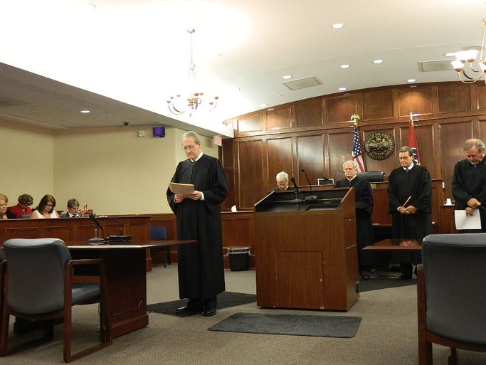 Judges Ross  Hicks, William Goodman, John Gasaway III and Laurence McMillan are sworn in by Judge Robert Wedemeyer.