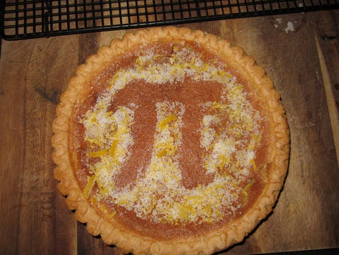 """What is Pi Day without pie? Allison Mackey tweeted this photo of a lemon chess pie she said she made with candied lemon peels. Five of the pies went to school with her kids, because """"we are nerds like that."""""""