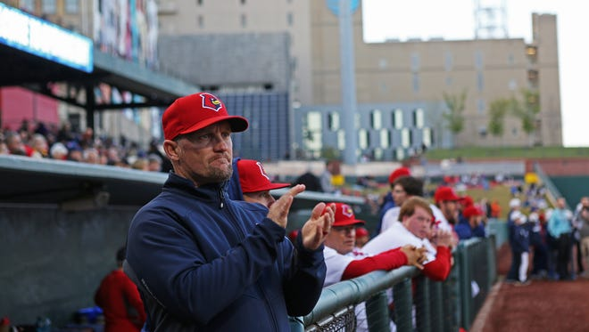 April 10, 2018 - Memphis Redbirds manager Stubby Clapp apllauds as his players are called to the field prior to the season opener against the Omaha Storm Chasers at AutoZone Park on Tuesday.