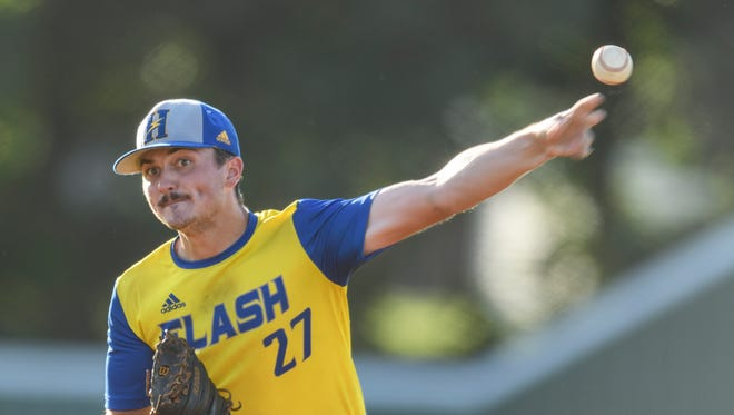 Henderson Flash's Braden White (27) pitches against the Fulton Railroaders during a doubleheader at B.T. Wayne Field in Henderson, Ky., Tuesday, June 19, 2018. The Flash defeated the Railroaders in the doubleheader games, 8-7 and 10-9, to continue their six game winning streak.