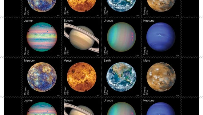 "Recent space exploration findings are represented in the 2016 space series stamp sheet ""Views of Our Planets."""