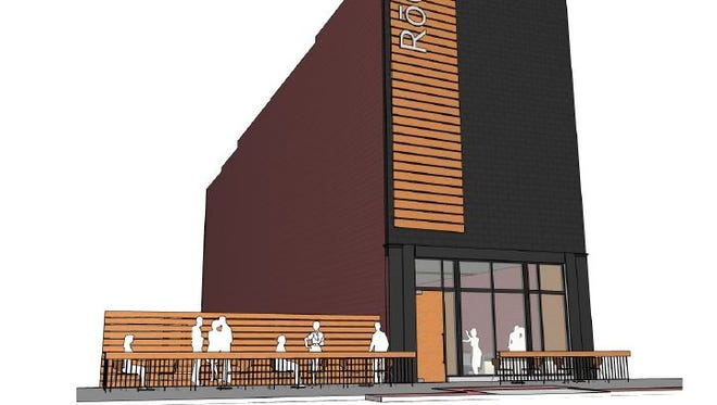 This rendering from Slingshot Architecture shows the proposed renovation of a restaurant building at 208 Court Avenue. Owners have picked the name RoCA, short for Restaurant on Court Avenue.