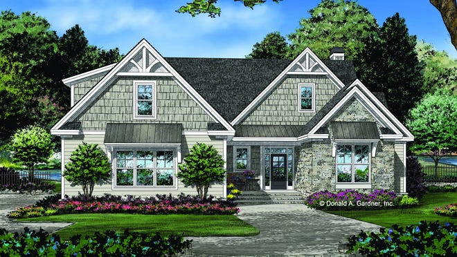 Mixed siding delivers depth, while a small front porch shows off curb appeal in this Craftsman design.