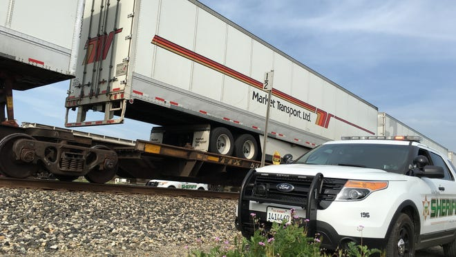 A man was killed in Goshen Friday morning after being struck by a freight train.
