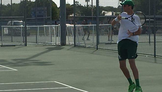 Fort Myers High junior John Carlin won his third straight district title at No. 1 singles last year at Charlotte High in Punta Gorda