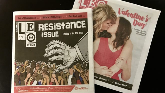 Two recent covers of LEO Weekly from February.