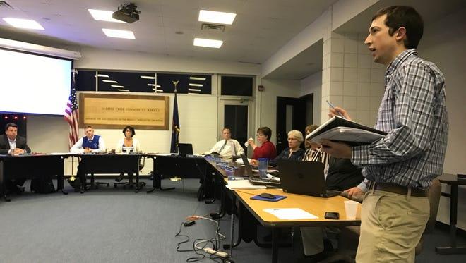 Wattles Park Men's Club Director of Operations Tony Zebell makes a point Thursday.