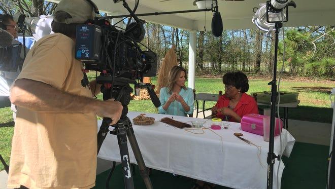 """Handcrafted America"" host Jill Wagner, left, talks with artisan Bessie Johnson."