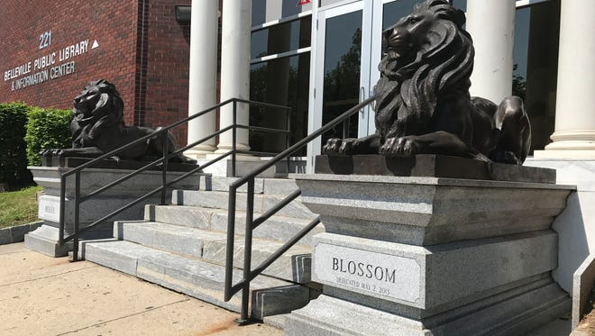 Belle and Blossom, bronze statues of lions outside of the Belleville Public Library and Information Center on Thursday, May 17, 2017, bear the birthdate of a convicted felon, who is a former president of the  library's Board of Trustees