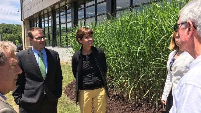 Gov. Kim Reynolds, center, views a patch of energy-producing miscanthus grass after a round table discussion on biomass fuels Wednesday at the University of Iowa.