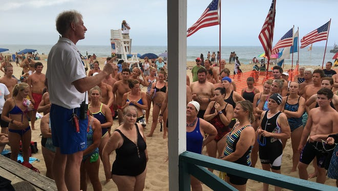 Ocean City Beach Patrol Capt. Butch Arbin addresses swimmers in preparation for 2016's Capt. Robert S. Craig Boardwalk Swim.