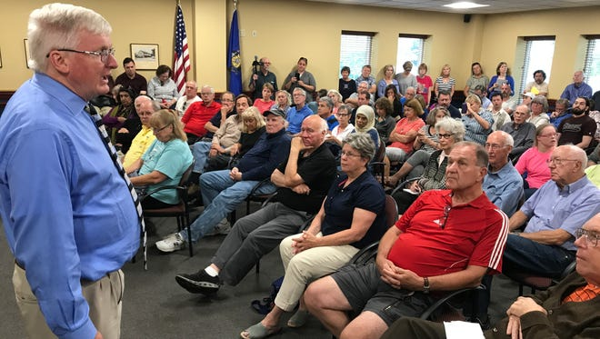 Congressman Glenn Grothman addresses constituents during a town hall meeting Monday, Aug. 28, at the Frank L. Weyenberg Library in Mequon.