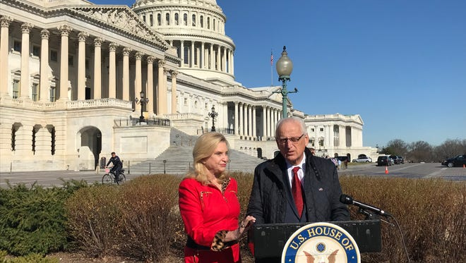 Rep. Bill Pascrell, D-Paterson, joins Rep. Carolyn Maloney, D-N.Y., to announce an effort to require more mental health information be shared with the database used for criminal background checks Feb. 27, 2018.