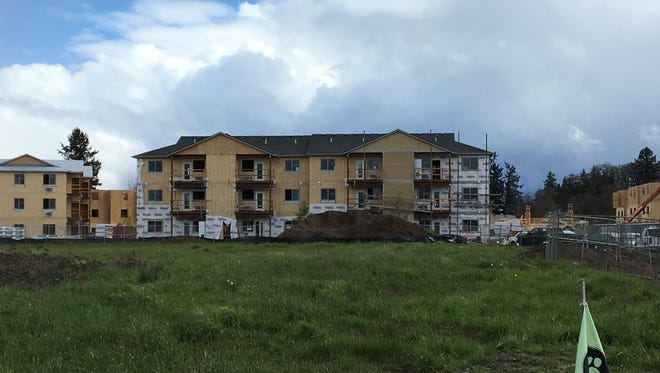 Construction of the Cornerstone Apartments on Portland Road in Salem, Oregon, on March 22, 2018.