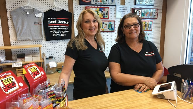 Carole Sutherland, right, owns Fort Myers Beef Jerky. Patricia Wiencek is the store's manager.