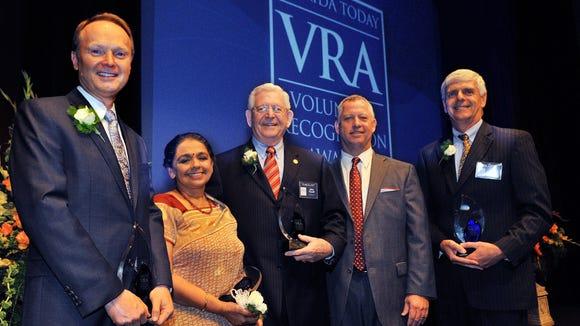 Last year's top VRA winners: Paul Hanson of Bright House Networks;  Ambika Ravindran; John Farrell of the Daily Bread Inc.;Jeff Kiel, president of FLORIDA TODAY Communications and Jim Clamons.