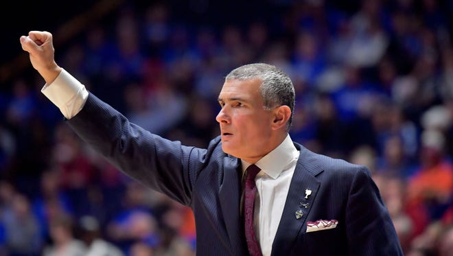 South Carolina head coach Frank Martin signals during the first half of a game at the SEC Conference Tournament.