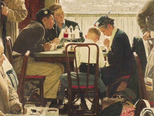 Norman Rockwell 'Saying Grace'