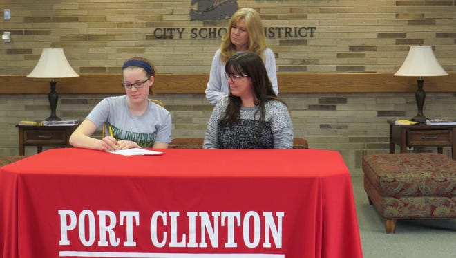 Port Clinton's Bailey Wells will compete on the equestrian team at Tiffin. She is joined at her announcement by mother, Nikki Hepner, and current riding coach Mary Ann Moore.
