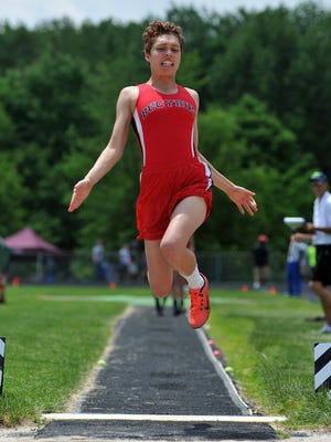 Bucyrus' Brittany Parsell during the girls long jump at the Division II Regionals at Lexington High School Saturday.