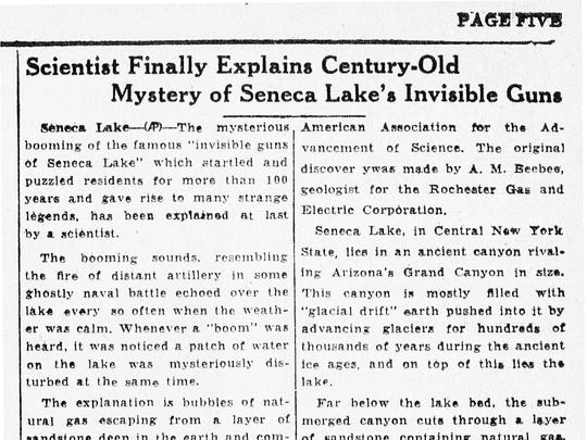 "On May 23, 1934, The Cornell Daily Sun reported that the ""invisible guns of Seneca lake"" which startled and puzzled residents for more than 100 years ""has been explained at last by a scientist."""