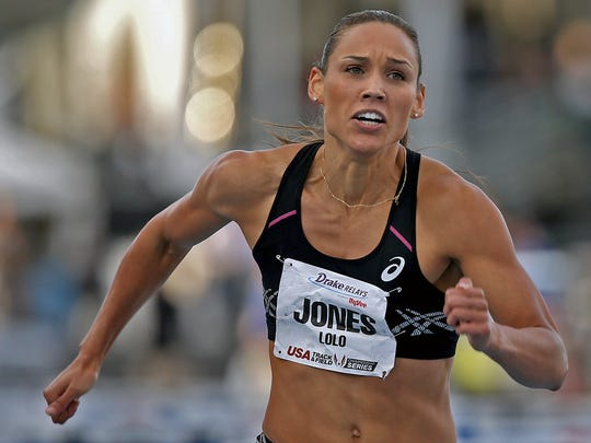 Lolo Jones hits the finish line in the women's special