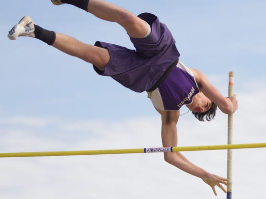 Dalton Sweet of Fowlerville won the pole vault against Williamston by clearing 12 feet, 6 inches on Tuesday, May 9, 2017.
