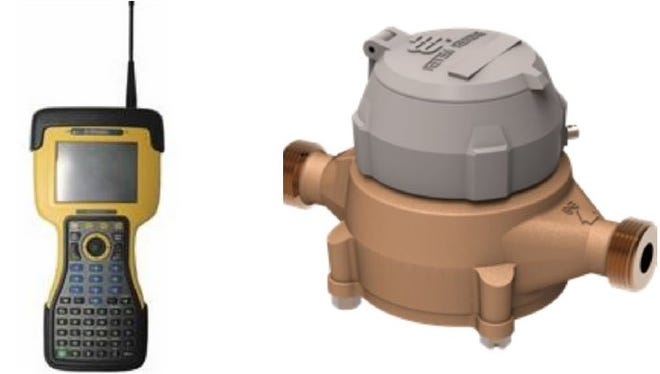 Pictured, from left, the data collector device and the water meter with the top part containing the register, battery and memory module.