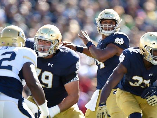Notre Dame quarterback DeShone Kizer eyes a receiver in the Fighting Irish's win against Georgia Tech on Sept. 19.