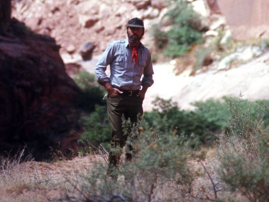 Edward Abbey on a backpacking trip in Utah.