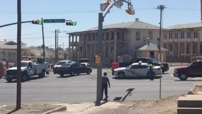 In this video screen grab, Law enforcement responding to an incident at the El Paso VA. Entrance to VA on Fred Wilson blocked off.