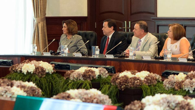 A delegation of House lawmakers led by House Minority Leader Nancy Pelosi, left, is visiting Mexico, Peru and Chile this week. With Pelosi are, from left, William Duncan, charge d'Affaires at the U.S. Embassy in Mexcio; Rep. Richard Hanna, R-Barneveld; and Rep. Linda Sanchez, D-Calif., during a meeting with Mexican officials.