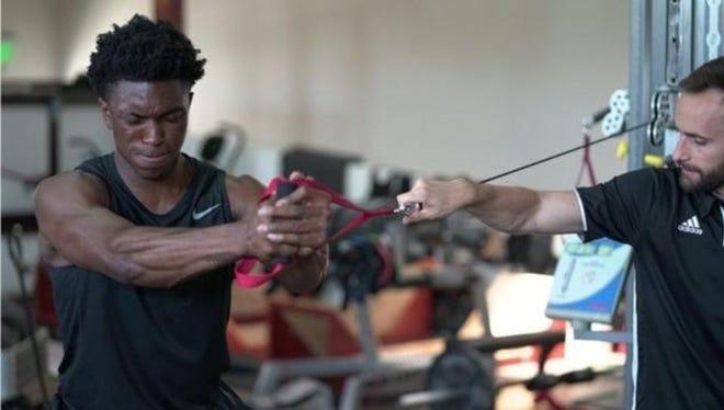 Pistons forward Stanley Johnson works out at the P3 performance center in Santa Barbara, Calif in July, 2017.