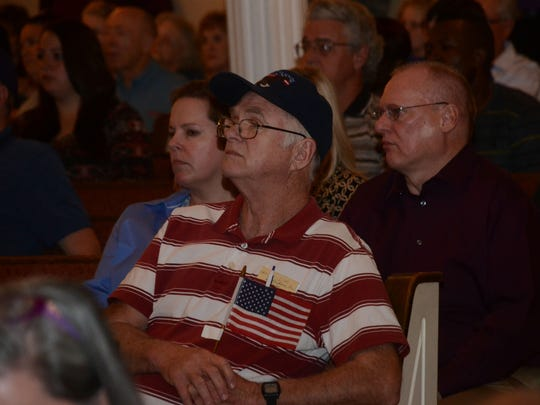 Bobby Moss, an Army veteran who served at Fort Polk and lives in the Leesville area, was among the community members who attended a listening session at the First United Pentecostal Church in Leesville in support of Fort Polk Tuesday, March 3, 2015.