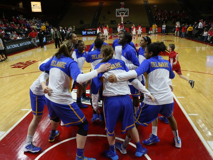 The Blue Hens gather before the start of their first round WNIT game against Rutgers in Piscataway, NJ, Thursday, March 20, 2014.