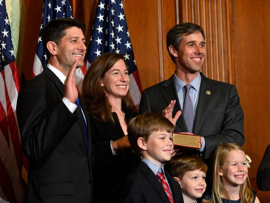 Rep. Beto O'Rourke and his family stand with House