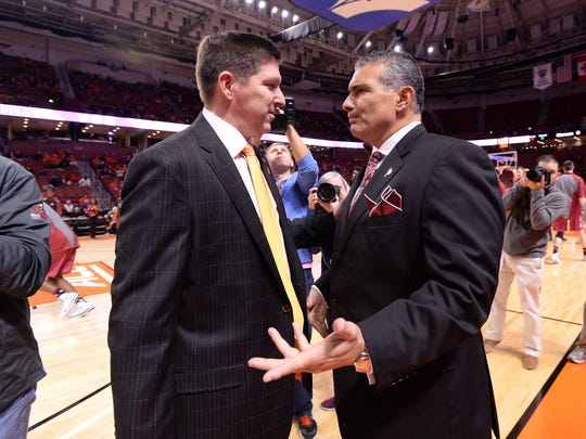Clemson head coach Brad Brownell and South Carolina head coach Frank Martin Friday, December 18,  2015 at Bon Secours Wellness Arena in downtown Greenville.