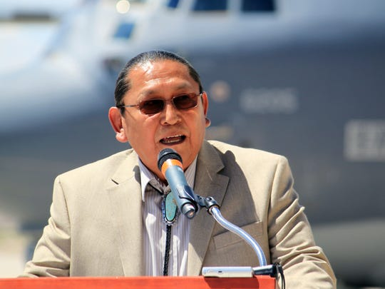 Acoma Pueblo Gov. Kurt Riley speaks during the signing of a landmark memorandum of understanding at Kirtland Air Force Base in Albuquerque, N.M., on Thursday, June 2, 2016. Federal, state and Native American officials reached the agreement to balance training needs with cultural preservation by allowing tribes to request short-term flyover restrictions.