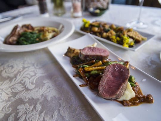 Pan-roasted loin of lamb with a spring vegetable ragout,