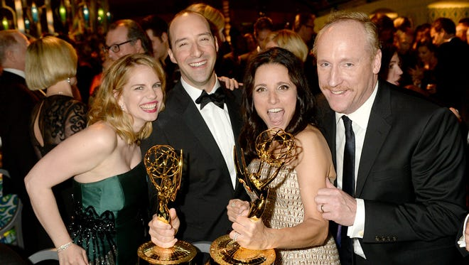'Veep' actors Anna Chlumsky, Tony Hale, Julia Louis-Dreyfus and Matt Walsh attend HBO's official Emmy after-party in The Plaza at the Pacific Design Center on Sept. 22 in Los Angeles.