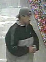 A man suspected in multiple thefts at the Shrewsbury Giant on Oct. 28 and Nov. 3.