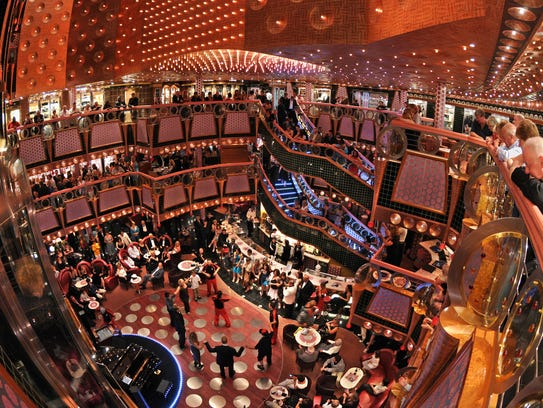 Carnival Splendor's interior has a glitzy decor created by noted ship designer Joe Farcus.
