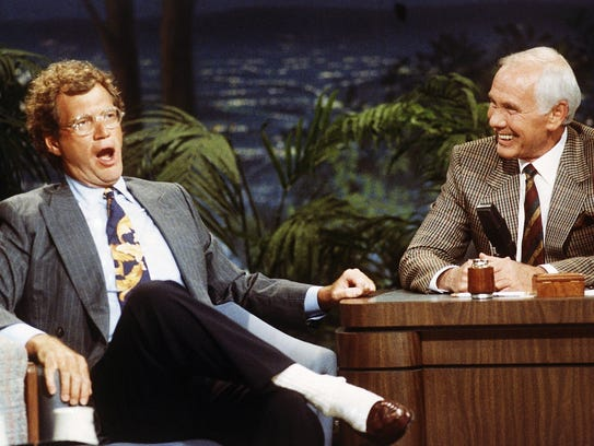 David Letterman with host Johnny Carson at a taping